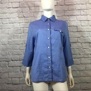 Karen Scott Polka Dot Button Down Shirt